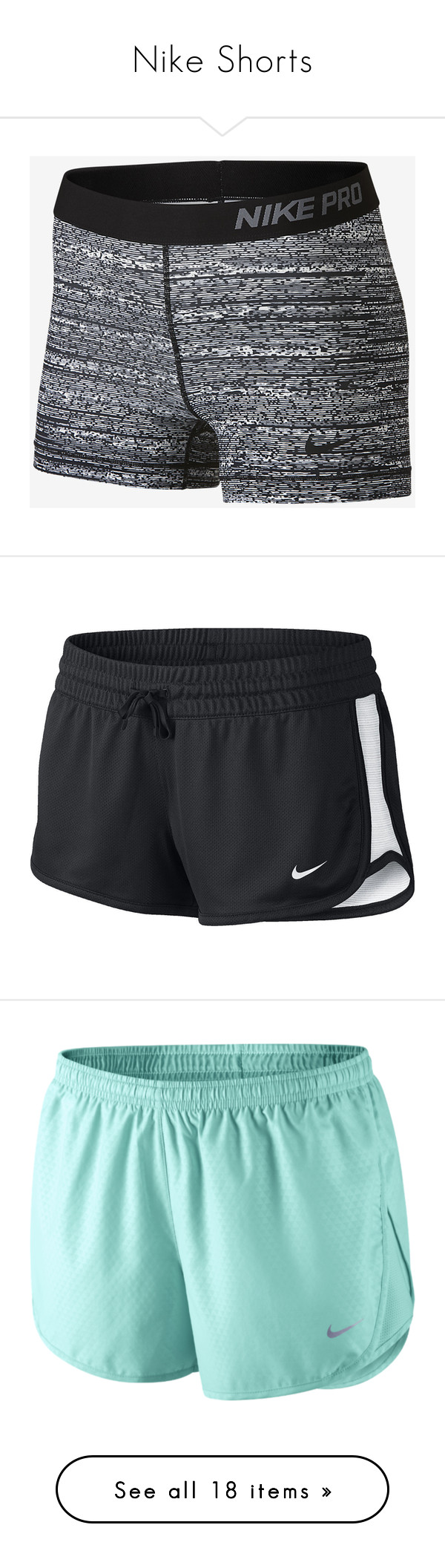 """Nike Shorts"" by trouble-xx ❤ liked on Polyvore featuring activewear, activewear shorts, shorts, bottoms, nike, sports, workout, black, nike sportswear and logo sportswear"