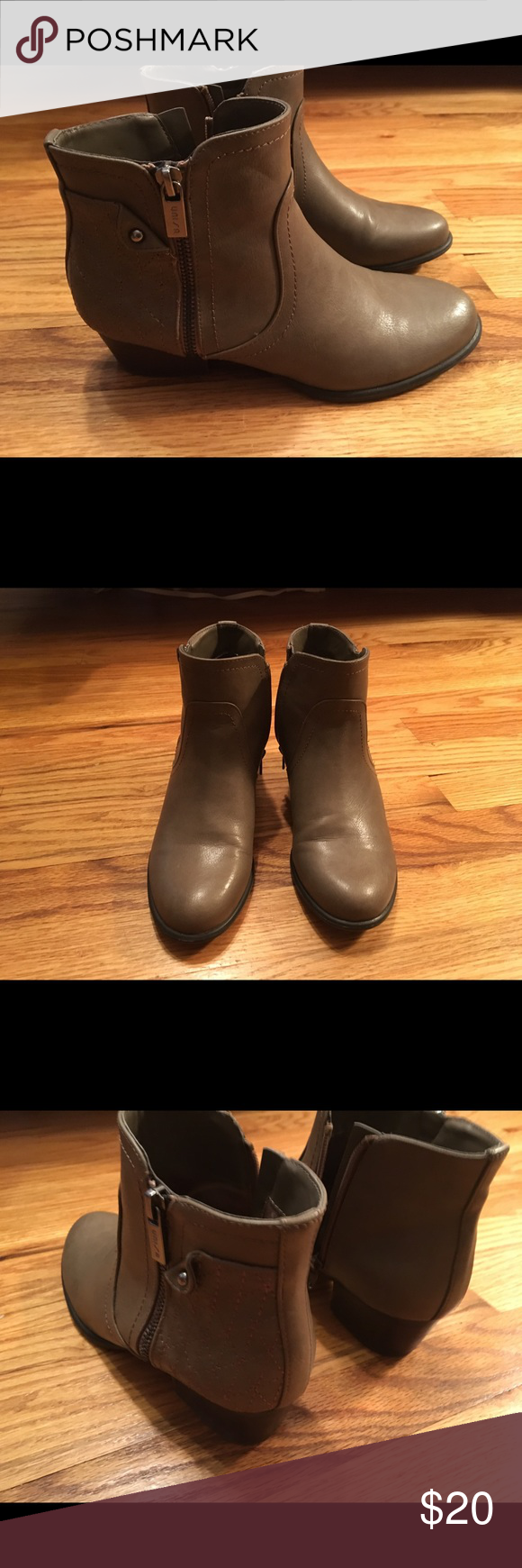 Fall Sale! Taupe booties with quilting detail Booties with pewter hardware.  Only worn a few times.  Great condition! Unisa Shoes Ankle Boots & Booties