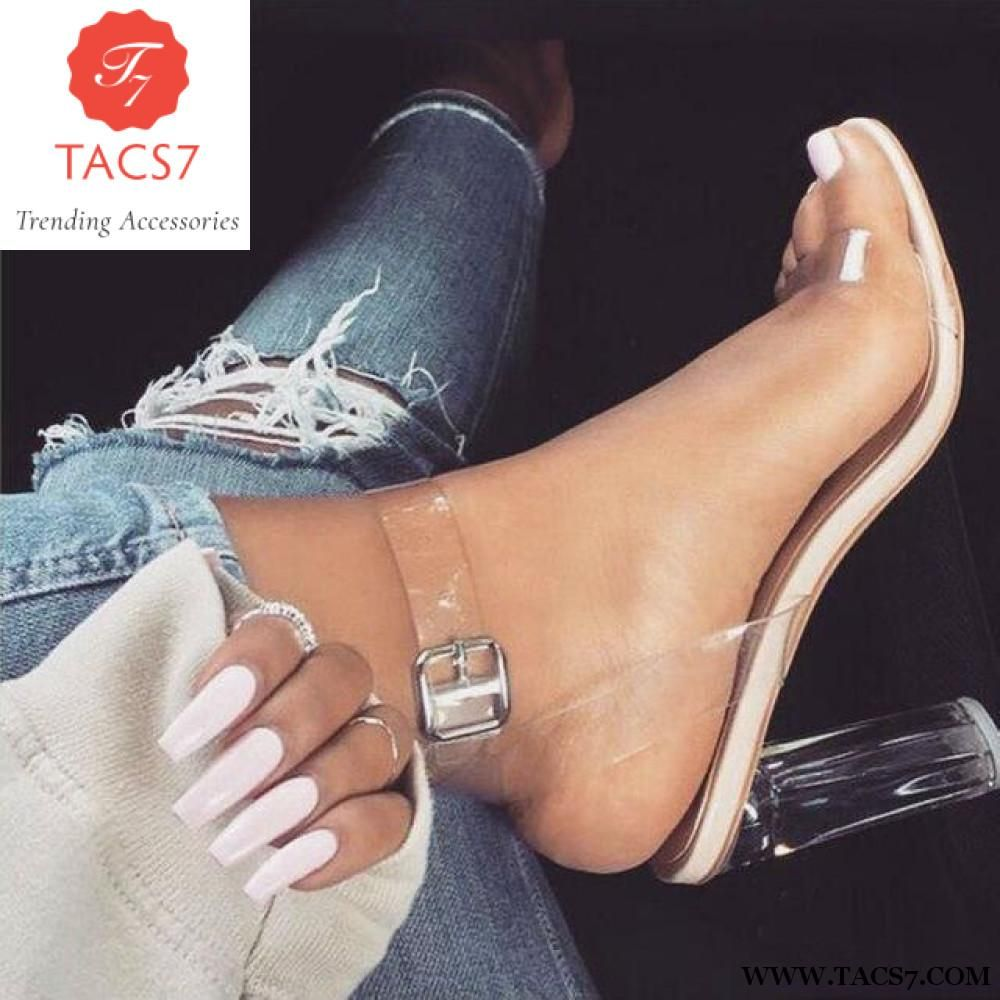 67b722d7d20 2018 Newest Women Pumps Celebrity Wearing Simple Style Pvc Clear Transparent  Strappy Buckle Sandals High Heels Shoes Woman Tmg   4
