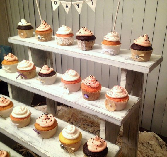 Rustic Wedding Cupcake Ideas: Rustic Cupcake Stand, Large & White Washed , Shabby Chic