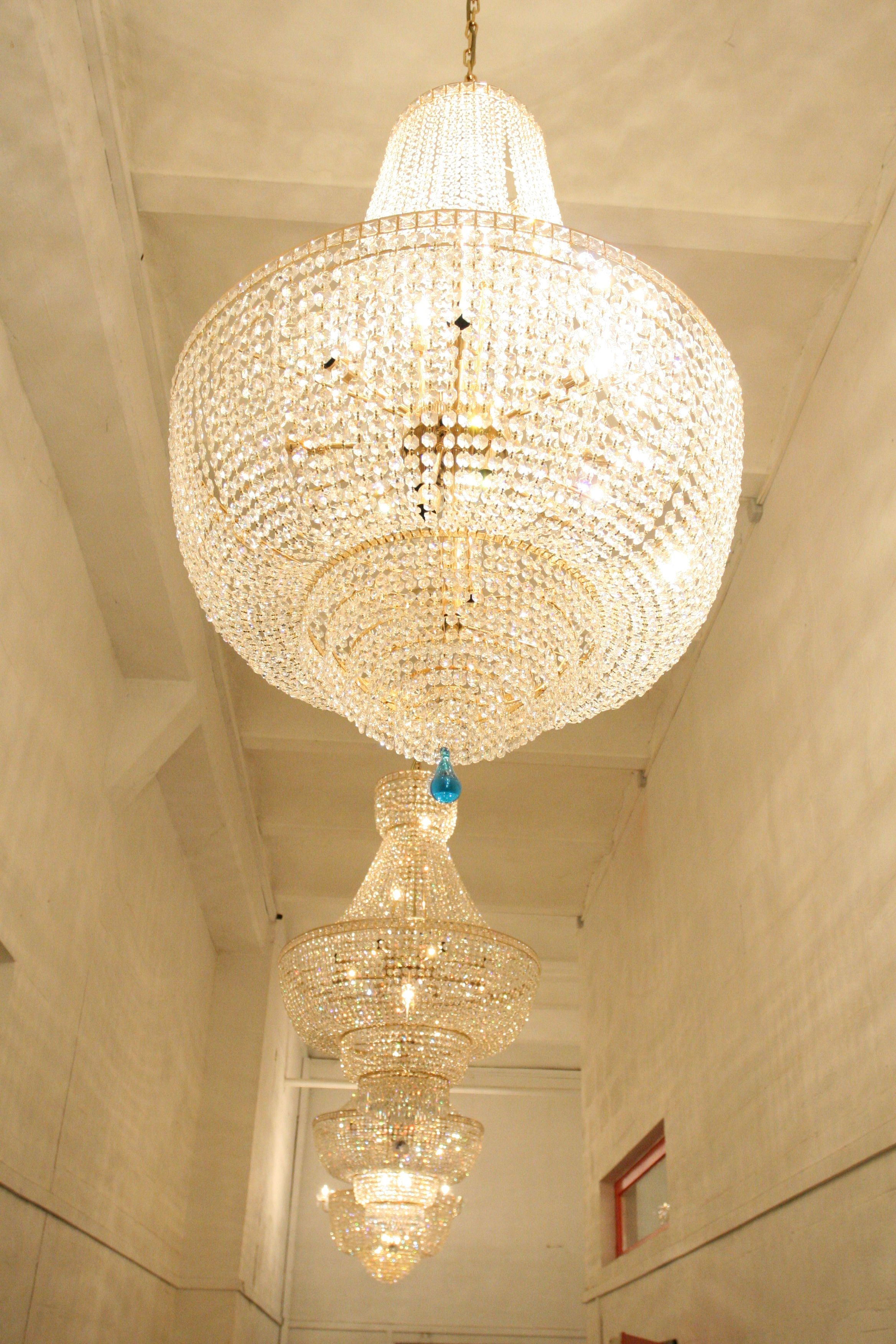 These Stunning Crystal Chandeliers Are Hanging In Our Hamburg Showroom