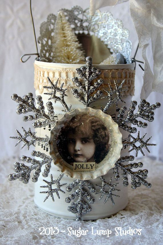JINGLE Shabby Altered TINNIE with bottle brush by sugarlumpstudios