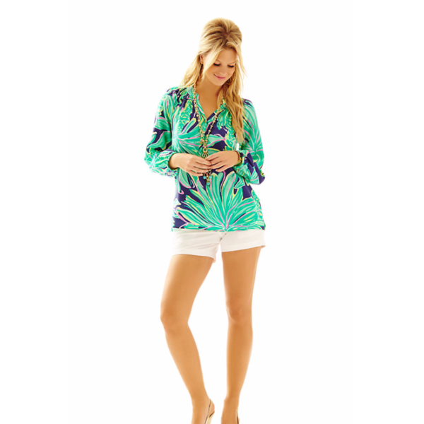 Get ready for a style epiphany: this silk blouse is the secret workhorse of your closet. Lilly Pulitzer Elsa Top in Tiger Palm Bright Navy - sure to be a favorite