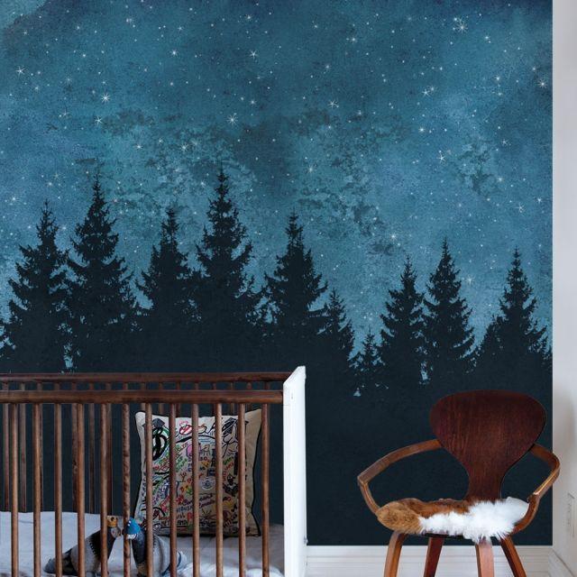 Forest Trees Night Scene Mural Wall Art Wallpaper Peel