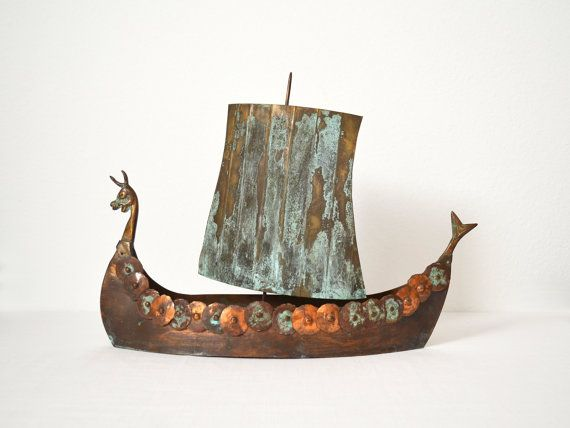 Vintage Large Hand Crafted Copper Viking Ship Metal