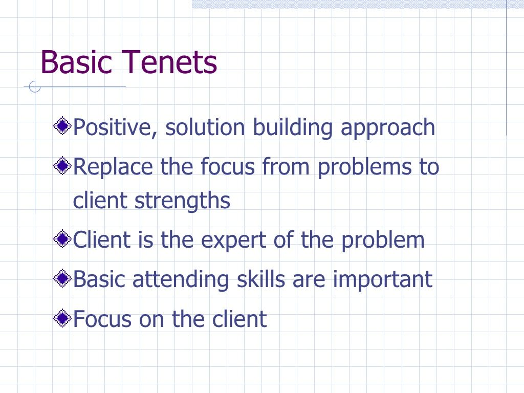 Basic Tenets Of Solution Focused Approach