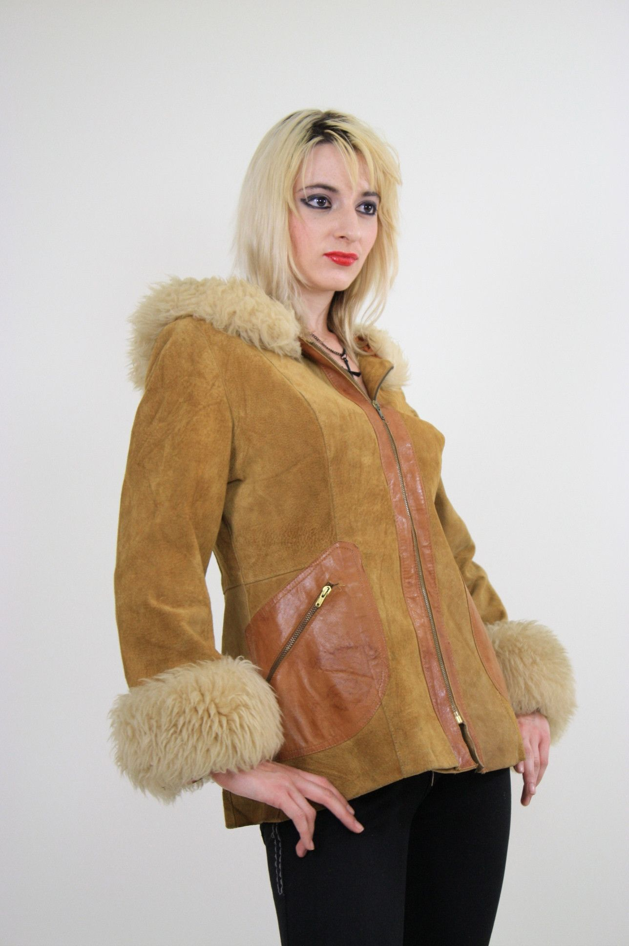 Genuine vintage 70s boho hippie suede leather jacket lamb