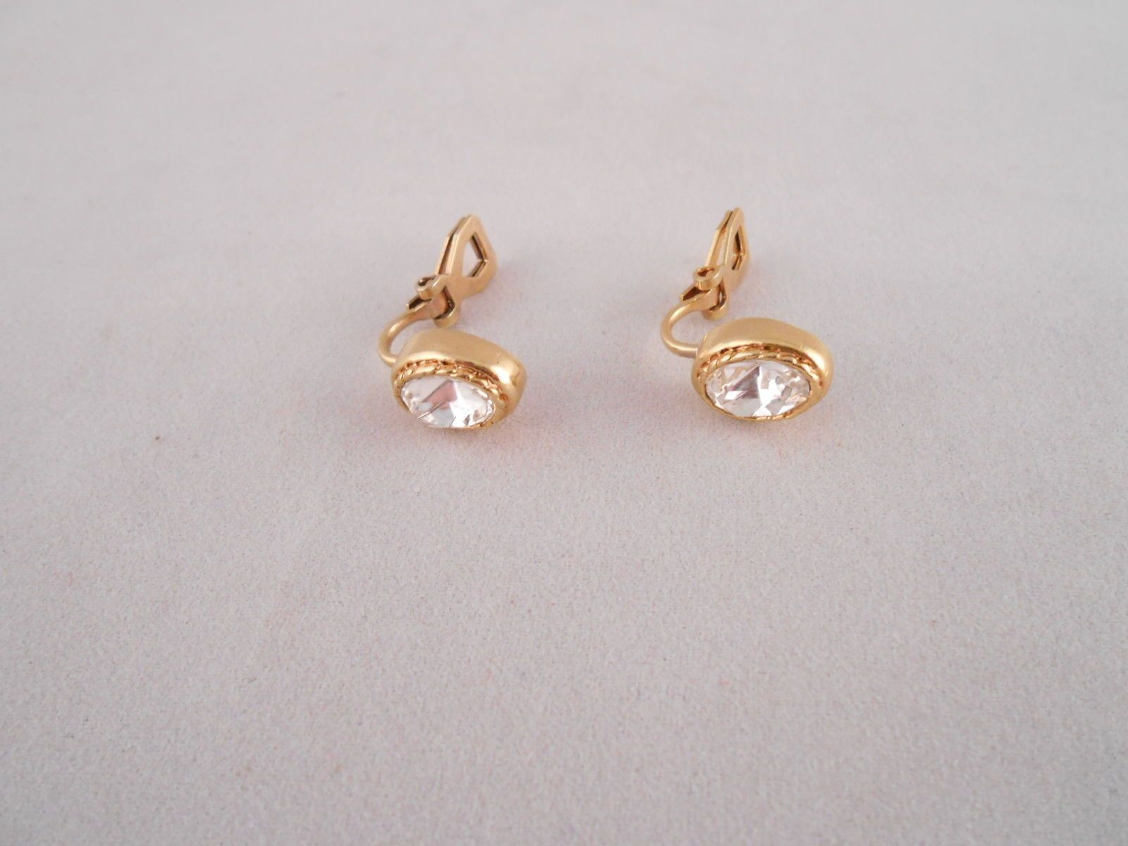 Gold And Diamond Earrings Clip On Back Costume Jewelry