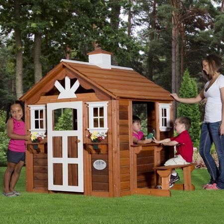 Leisure Time Products Summer Cottage Wooden Playhouse Patio