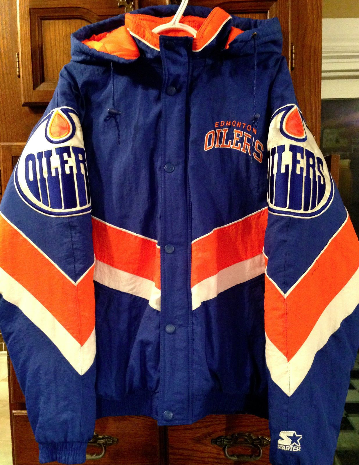 Vtg 90s Edmonton Oilers Winter Jacket Starter Mens Large Mint Condition Sewn   4405a8d97