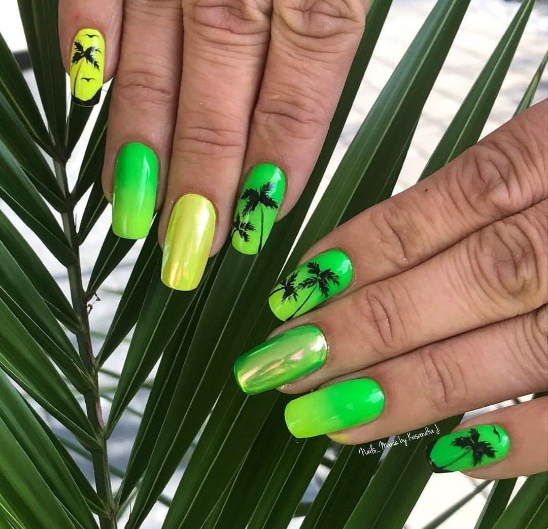 Manicure Zielone Zolte Palmy Paznokcie Wakacje Paznokcie