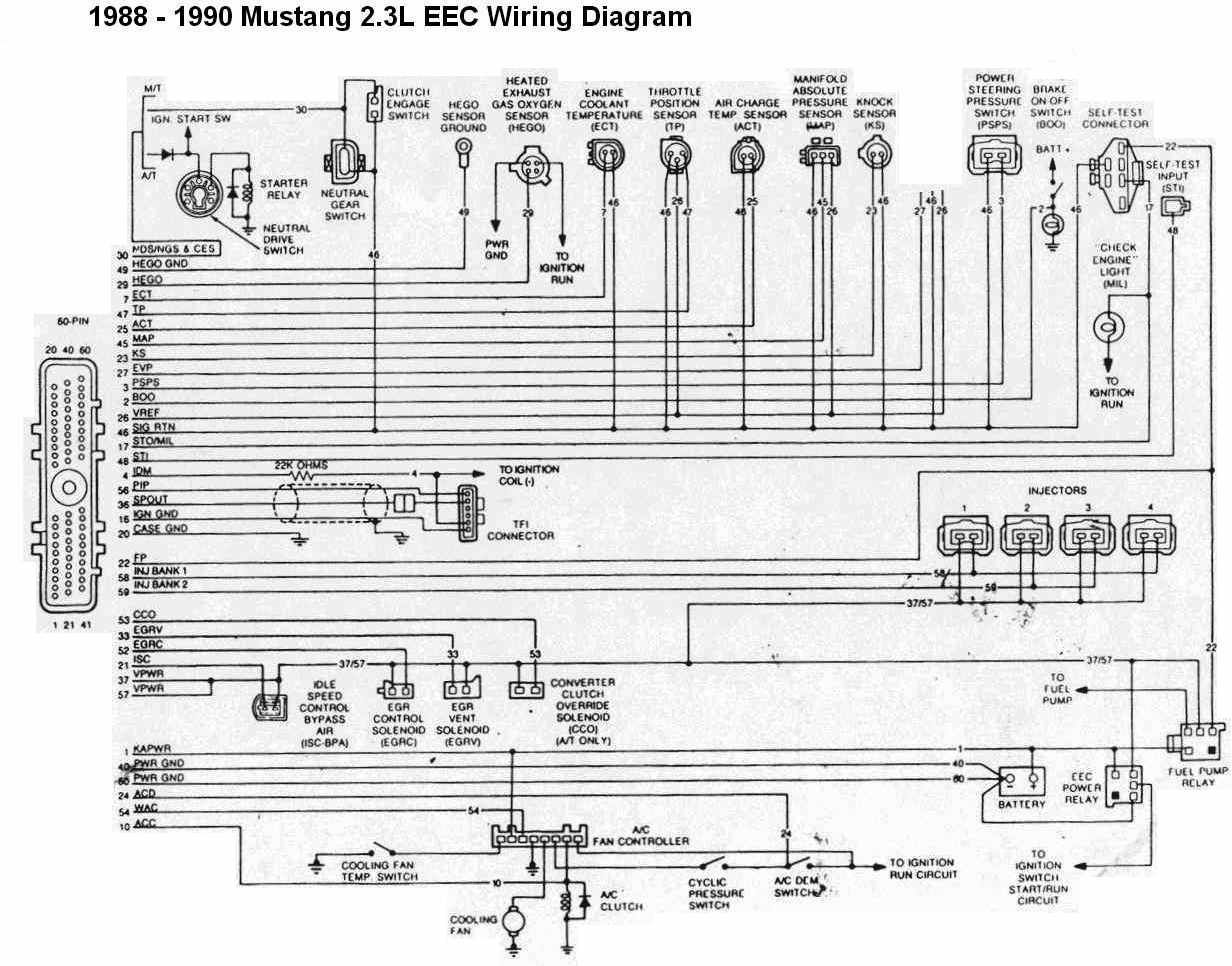 b809770a1fd21af150f1361acda09af2 1990 mustang 2 3 wiring diagram mustang 1988 1990 2 3l eec A C Compressor Wiring Diagram at edmiracle.co