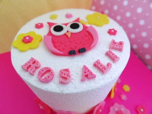 Fondant Owl flowers edible cake decorations over 30 piece Custom