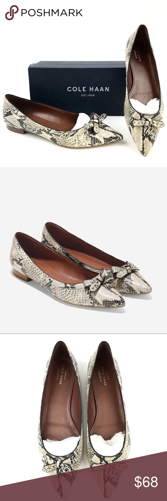 Cole Haan Snakeskin Pointed Toe Bow