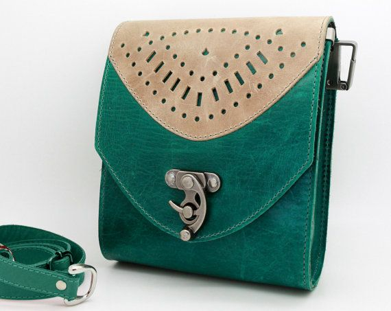 Jade green purse, small leather crossbody