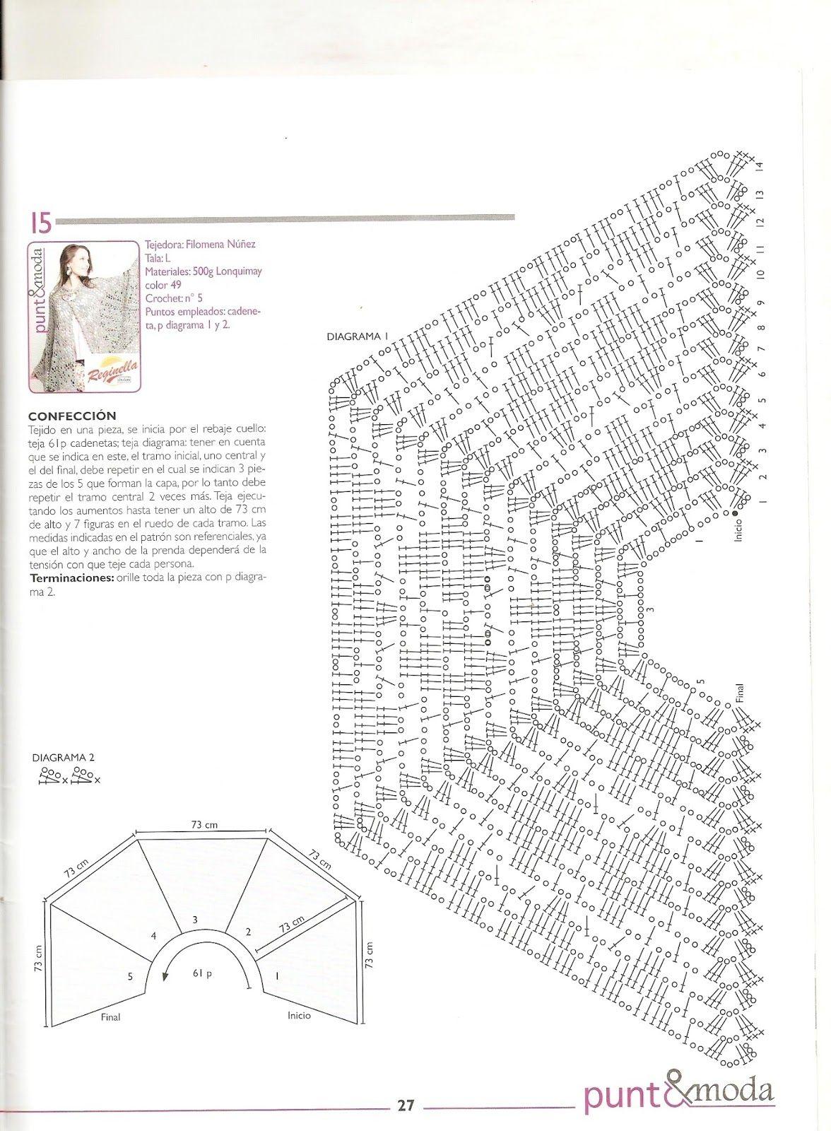 PATRONES GRATIS DE CROCHET: Patrón bello chal a crochet | Capas ...