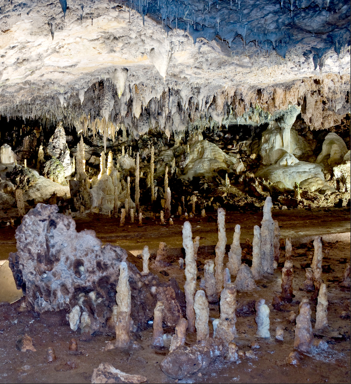 types of cave formations Speleothems: cave formations caused by the deposition of dissolved minerals in crystalline form gypsum flowers, stalactites and stalagmites are examples of speleothems gypsum flowers, stalactites and stalagmites are examples of speleothems.