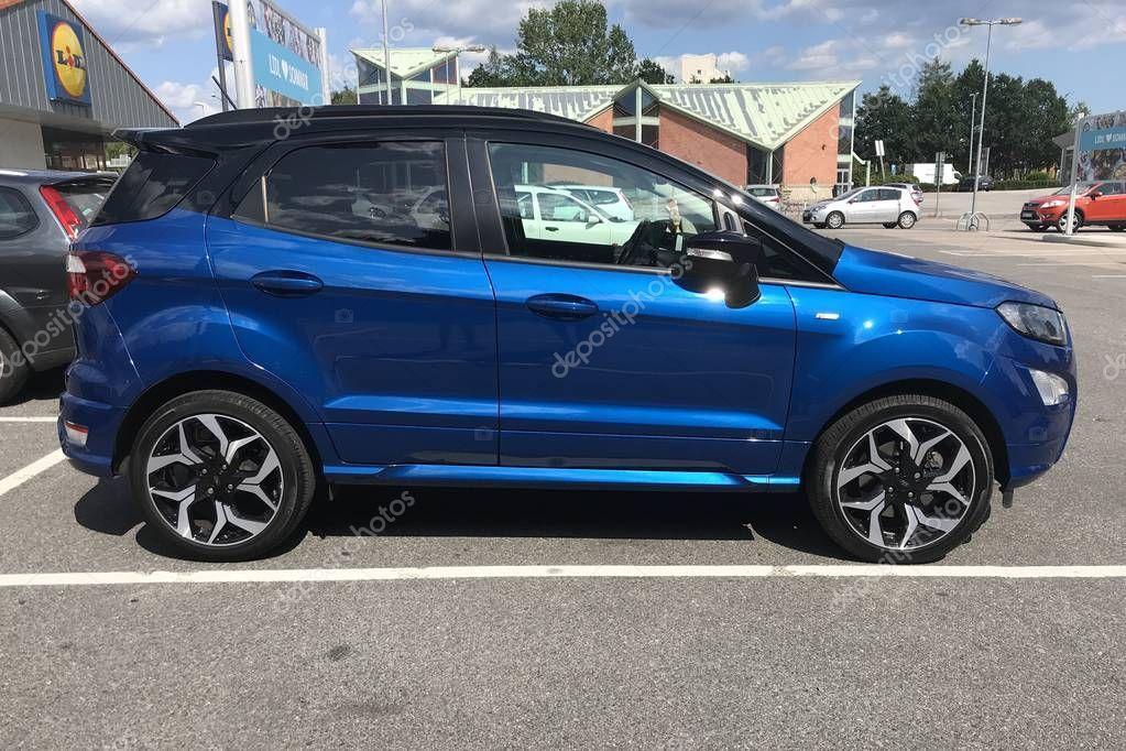 Karlshamn Sweden July 2019 Blue Ford Ecosport Parked Public