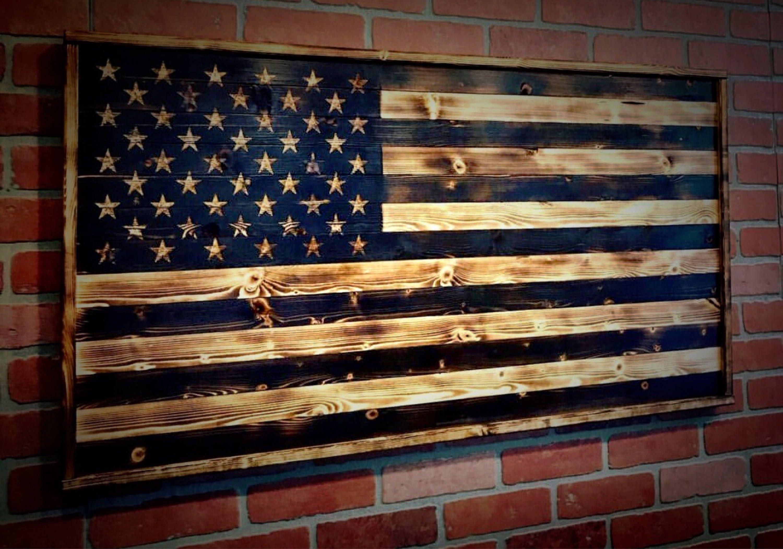 Wooden American Flag Wooden Flag Us Flag Wood American Flag Wall Art Charred Flag Flag Art Gift For Him Anniversary Gifts For Men Alte Mobel