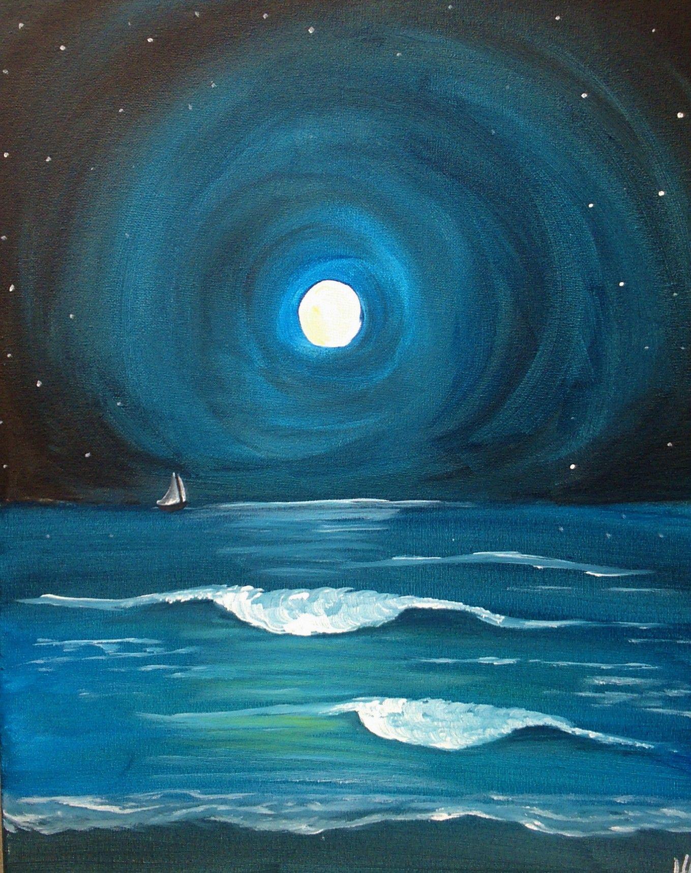 Moonlit Ocean Sailing Thursday Oct 23rd Ocean At Night Night Painting Fineliner Art