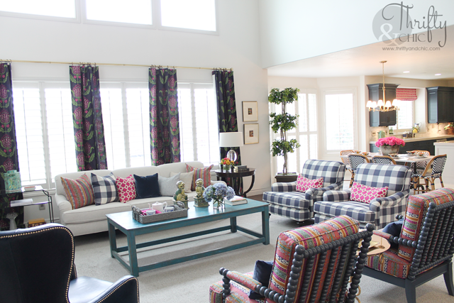 Model Home Monday Navy Blue Pink And Bold Living Rooms
