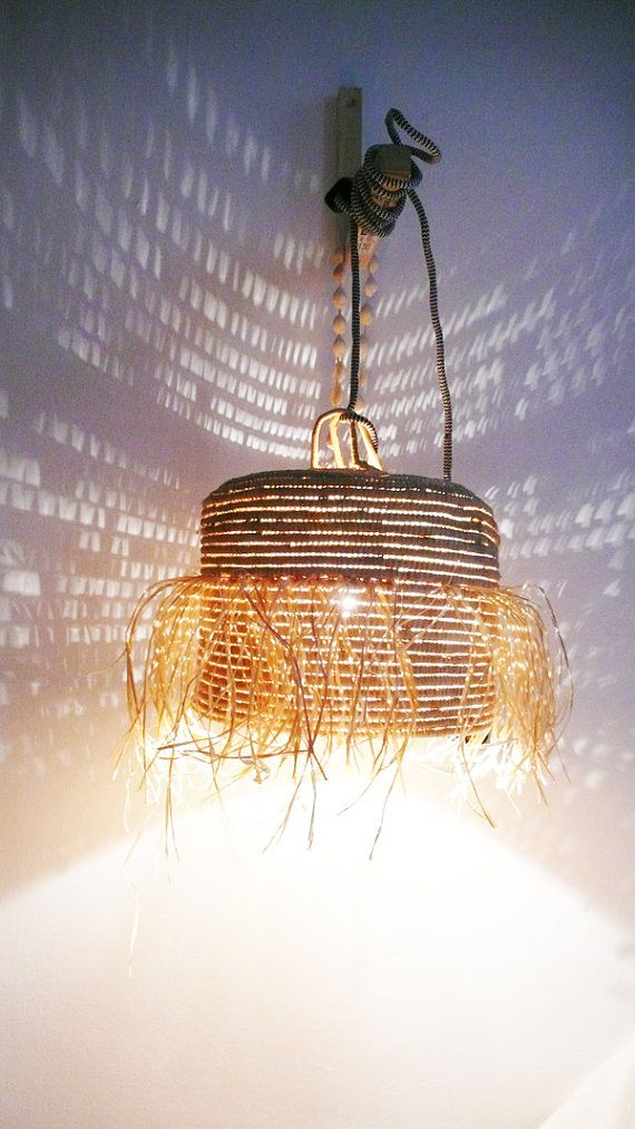 Natural raffia lamp with textile cable switch and plug fringed natural raffia lamp with textile cable switch and plug fringed pinterest lights fantastic lights and moroccan mozeypictures Gallery