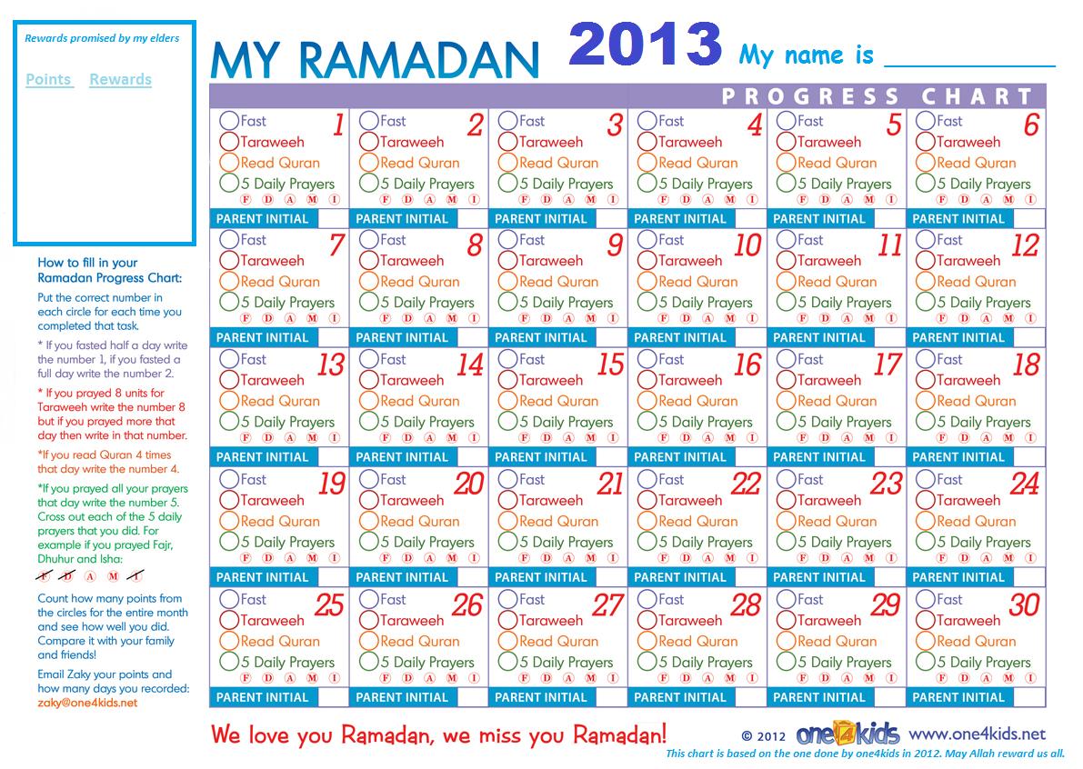 Free Ramadan Chart  For The Kids  Ramadan And Chart