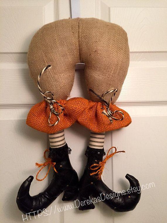 Halloween Burlap Witch Butt Wreath item  by DerekasDesigns on Etsy