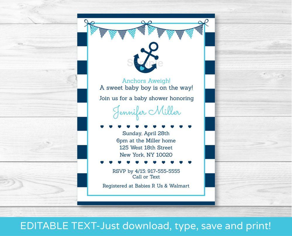 Nautical Anchor Printable Baby Shower Invitation Editable PDF ...