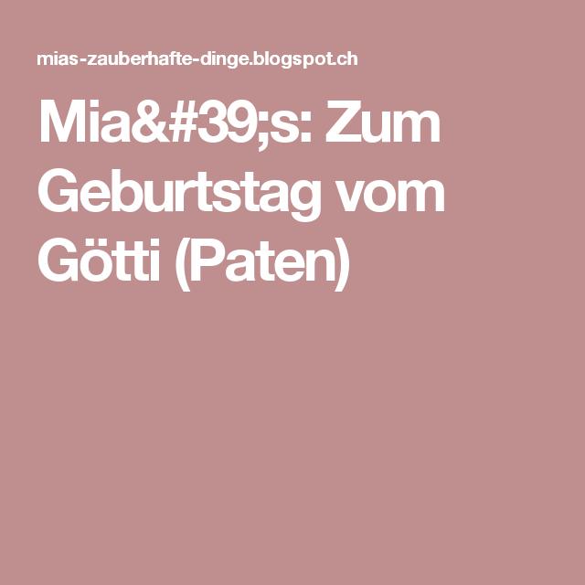 Mia's: Zum Geburtstag vom Götti (Paten)