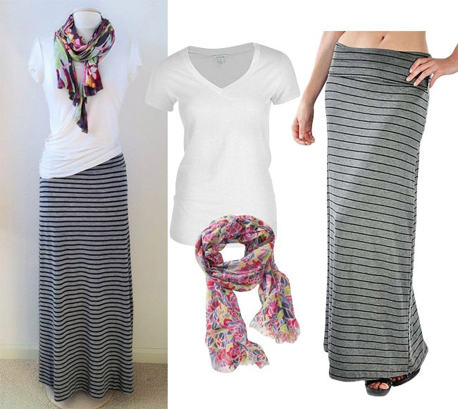 Get The Look: Simple and Chic Way to wear Striped Maxi Skirt ...