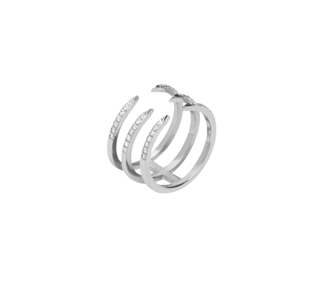 Triple Pin Ring with Pave White Diamonds