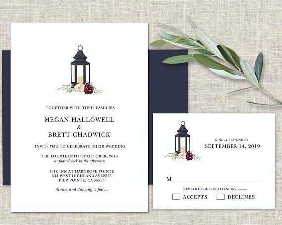 Wedding Invitation Template Lantern Wedding Invitation Suite