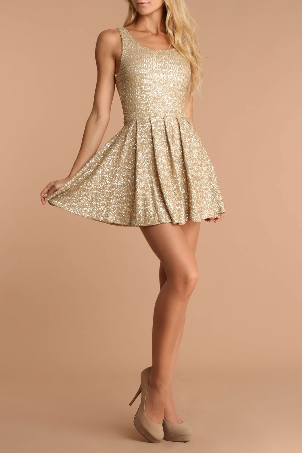 La Cite Fit and Flare Sequin Dress In Gold | Clothes | Pinterest ...