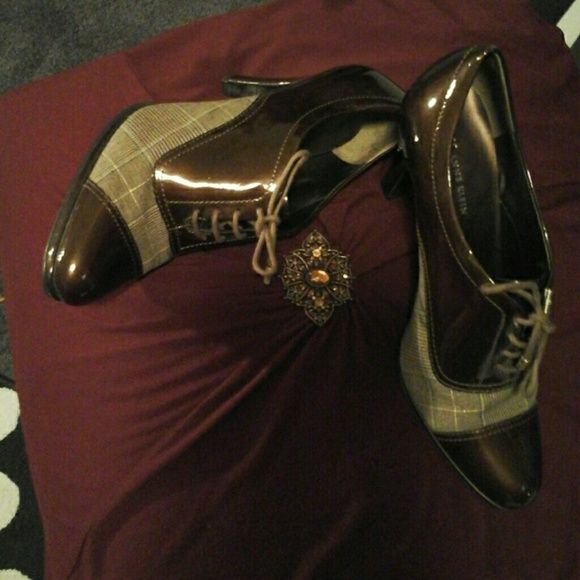 Sugar & Spice, AK Anne Klein shoes Plaid please! What gorgeous menswear shoes! Laced, brown sugar and plaid. A rich cream, brown, black, a great staple for the upcoming season!  3 inches heels * Anne Klein Shoes Heels