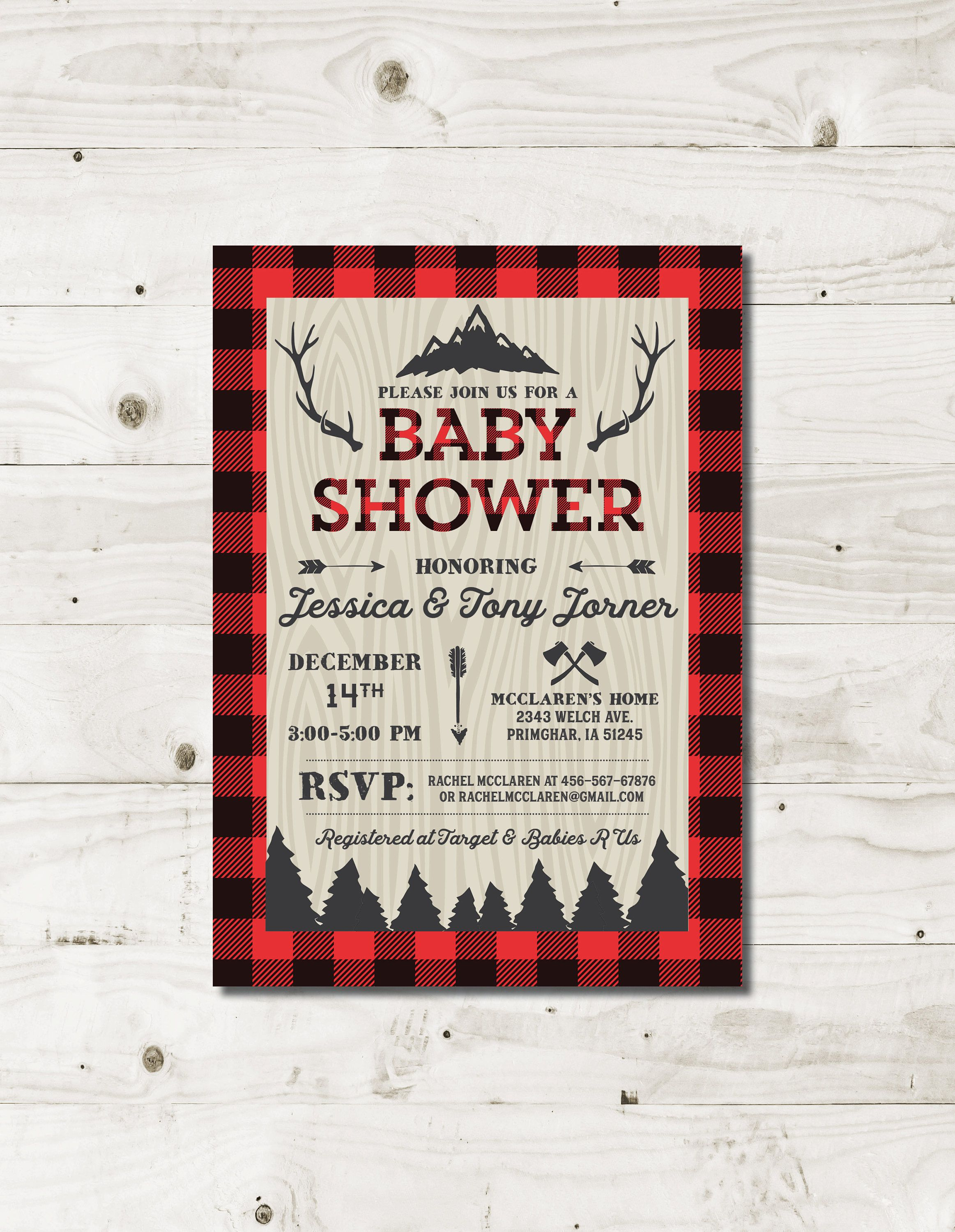 Lumberjack Baby Shower Invitation with red and