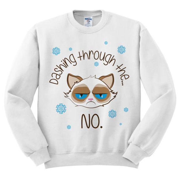 Grumpy Cat Ugly Christmas Sweater.White Crewneck Dashing Through The No Grumpy Cat Ugly