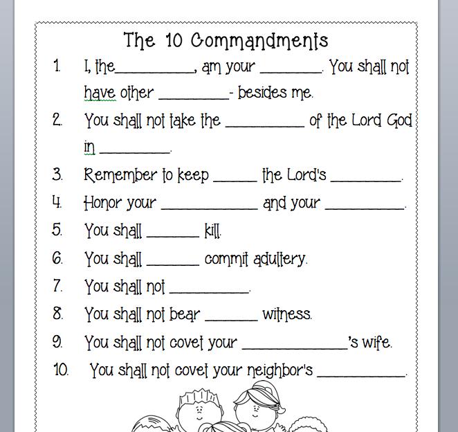 The 10 Commandments 10 Commandments Sunday School Coloring