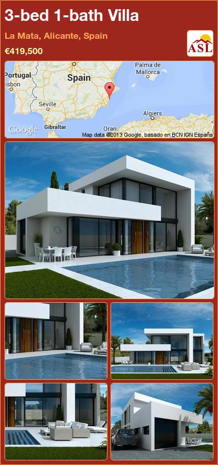 Villa For Sale In La Mata Alicante Spain With 3 Bedrooms 1 Bathroom A Spanish Life Architecture House Villa Design Architecture