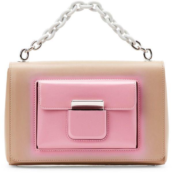 Balenciaga Beige & Pink Bal58 Shoulder Bag (€895) ❤ liked on Polyvore featuring bags, handbags, shoulder bags, beige, red purse, red leather handbags, genuine leather shoulder bag, leather handbags and beige leather handbag