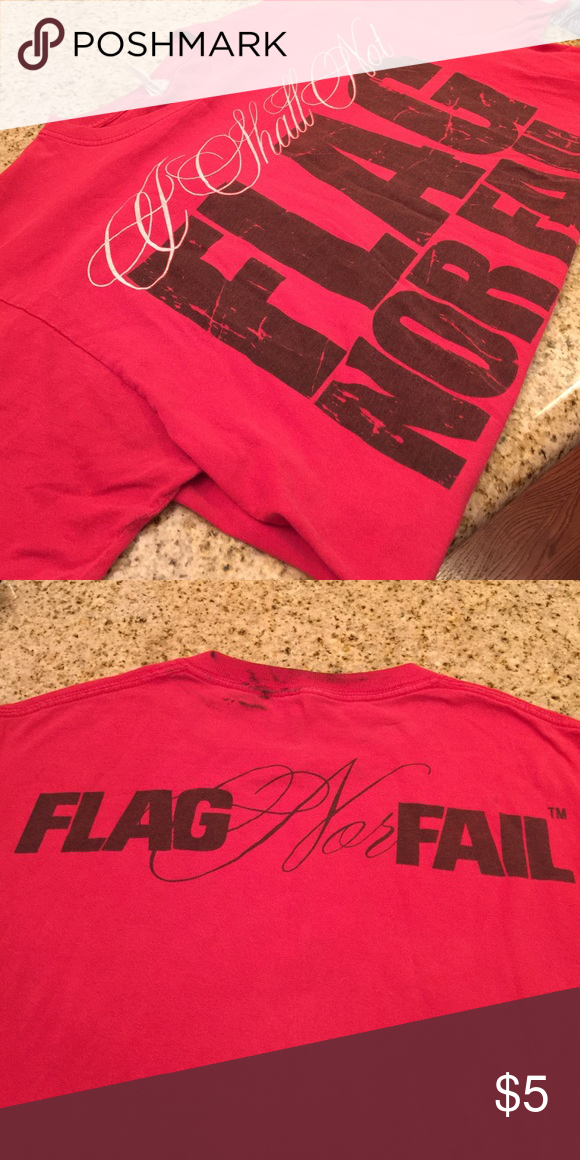 Flag Nor Fail Tee Faded a little. Has black hair dye stain on the back neck 😑 but it can be cut out and worn as a muscle tank top like DLB 😝 flag nor fail Tops Tees - Short Sleeve