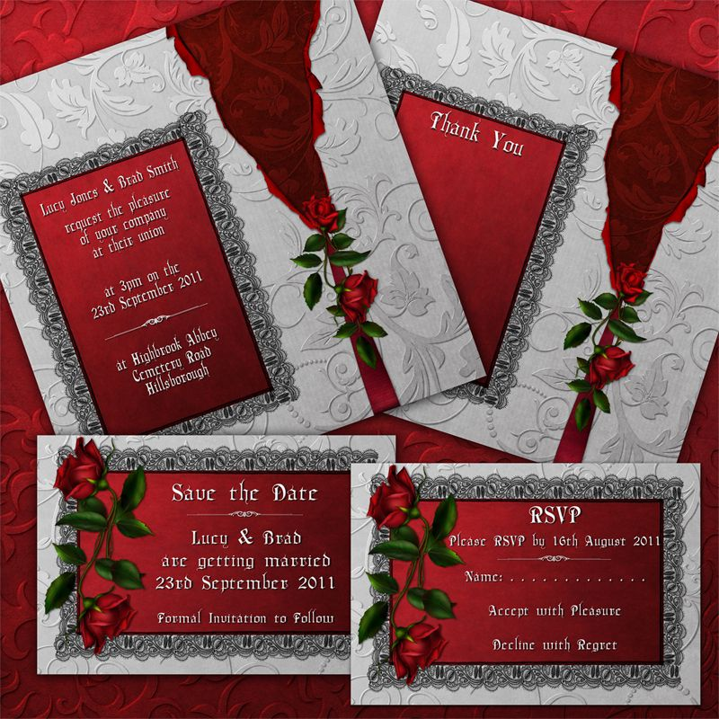 red rose wedding invitations Red Wedding Invitations Pinterest