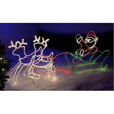 Christmas Reindeer Lights Outdoor Santas Sleigh LED Rope Silhouette  Decoration - Christmas Reindeer Lights Outdoor Santas Sleigh LED Rope Silhouette