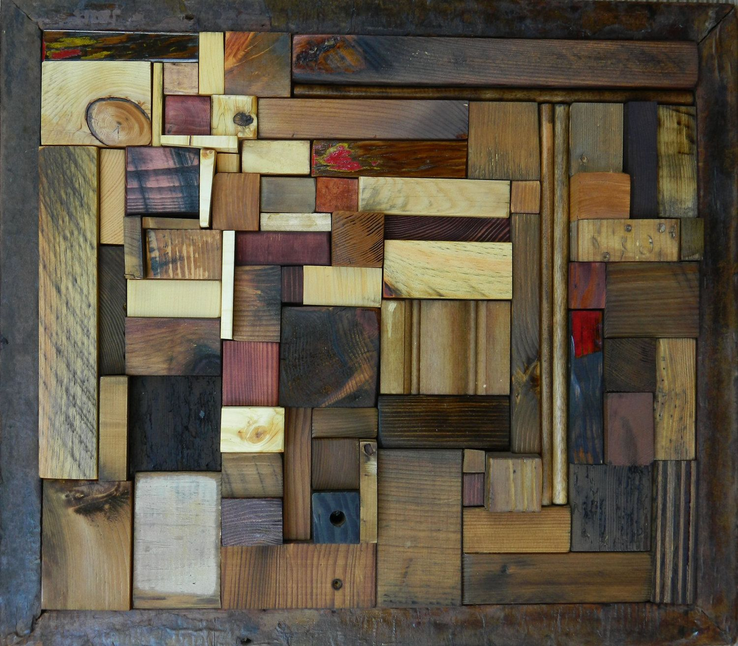 Abstract wood relief mosaic go around 37500 via etsy
