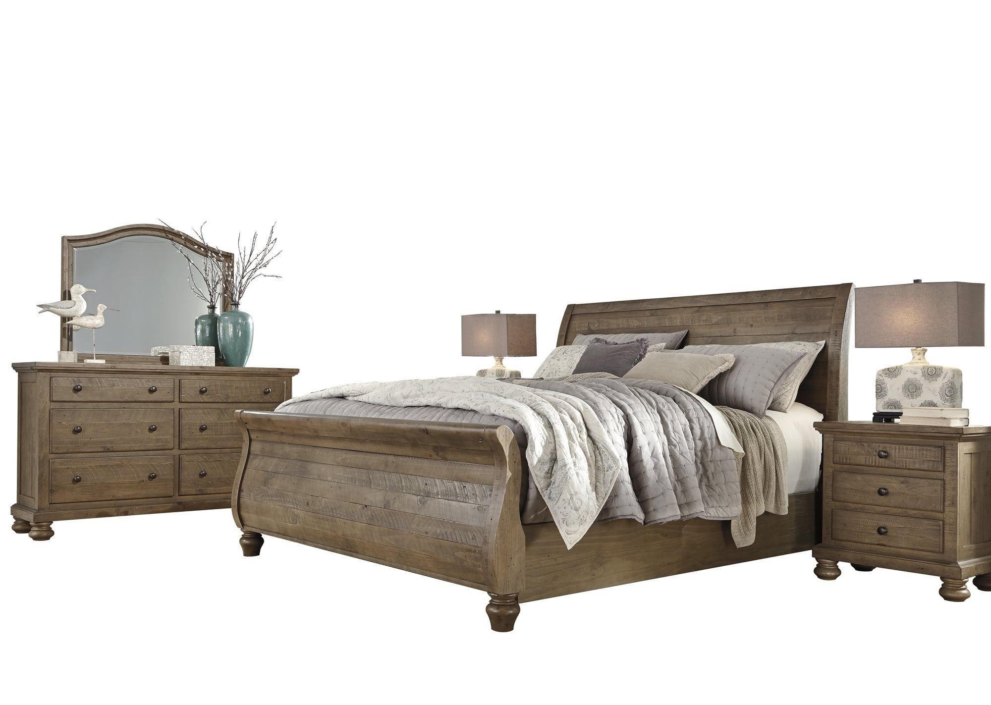 ashley trishley 5pc bedroom set e king sleigh bed two nightstand rh pinterest com