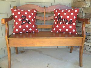 2 Valentineu0027s Day Pillow Be Mine New Outdoor Fabric Sunbrella Red Polka Dot  Sun | EBay