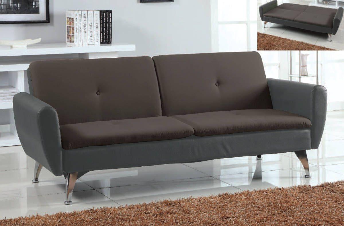 Kimber Chocolate Black PU Fabric Adjustable Sofa