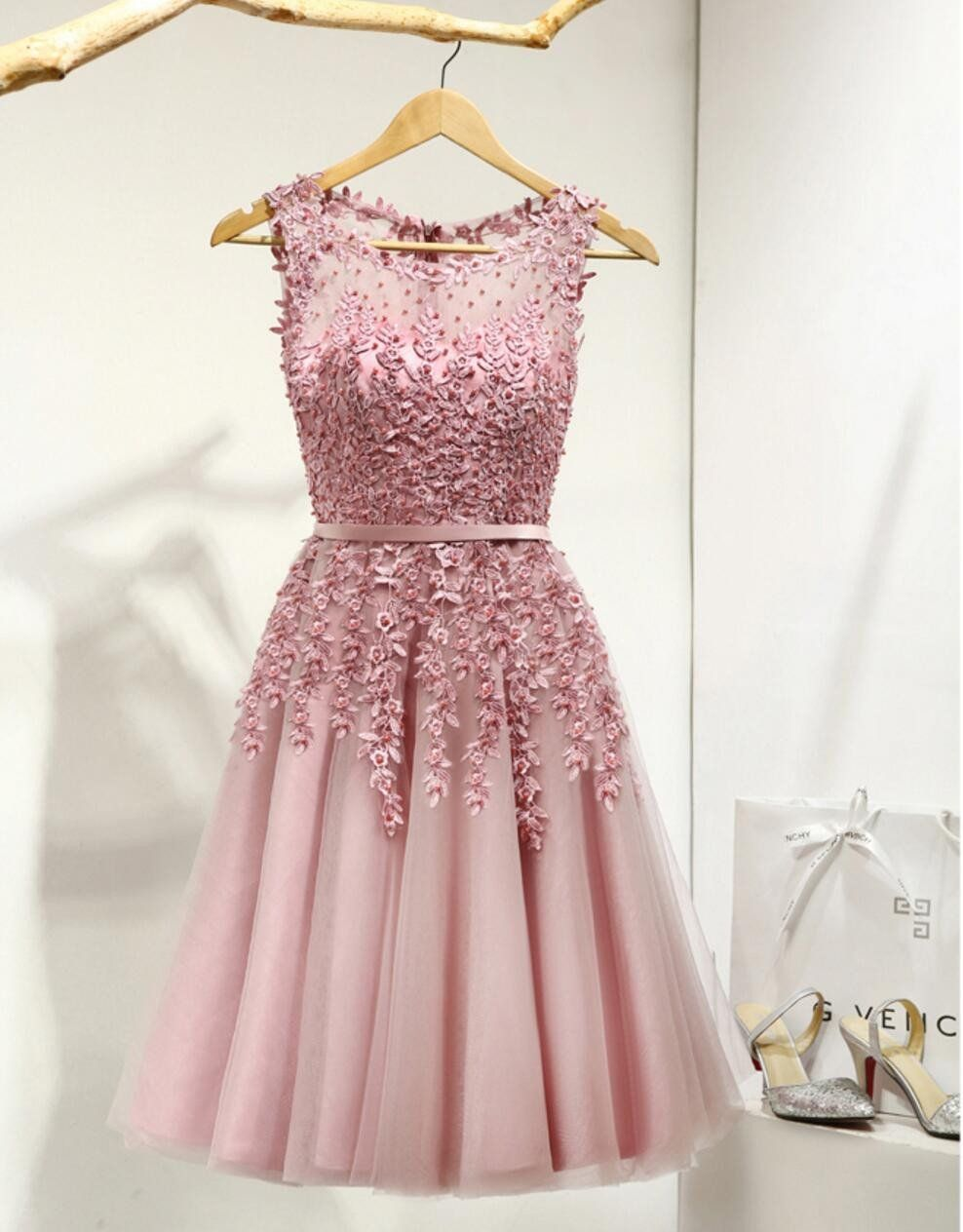 Dusty pink lace beaded see through homecoming prom dresses