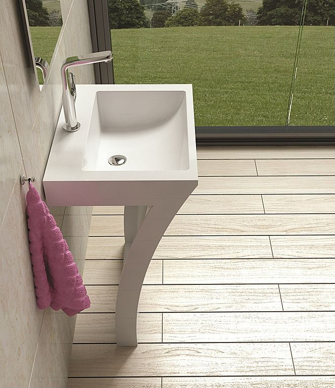 pedestal sink or vanity in small bathroom%0A Free Standing Solid Surface Stone Modern Pedestal Sink    x    inch