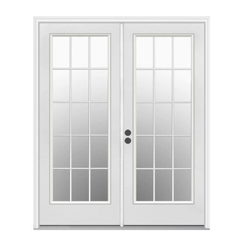 Shop Reliabilt 71 1 2 Low E Insulating 15 Lite Steel French Patio Door At Lowes Com French Doors Exterior French Doors Patio French Doors Interior